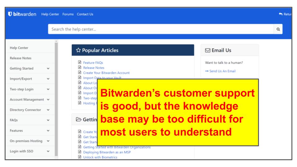 LastPass vs. Bitwarden: Customer Support