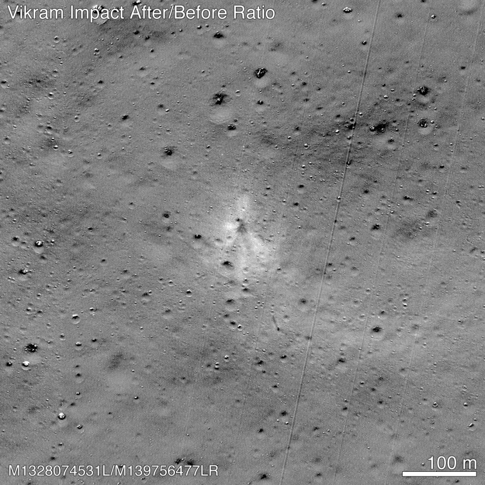 The impact point of the Vikram lander can be seen in the center of the image