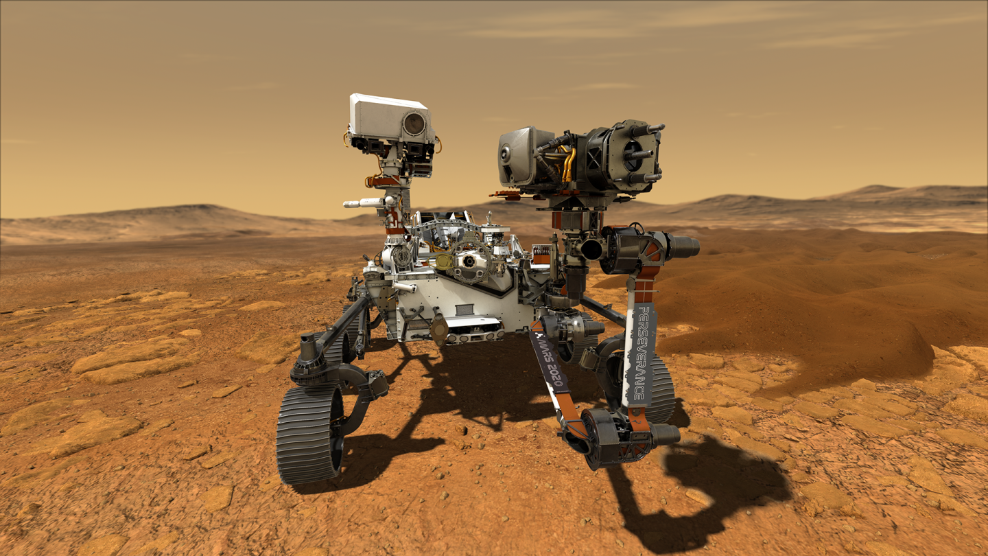 An artist's illustration of the Perseverance rover on Mars