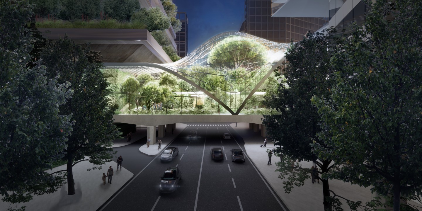 The old Pirellino office tower and the new greenery covered skyscraper will be connected by a greenery filled bridge