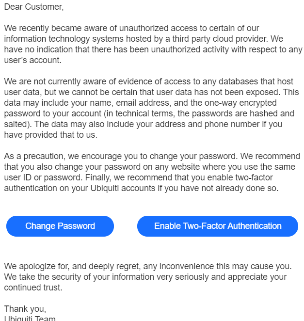 Ubiquiti: Change Your Password, Enable 2FA