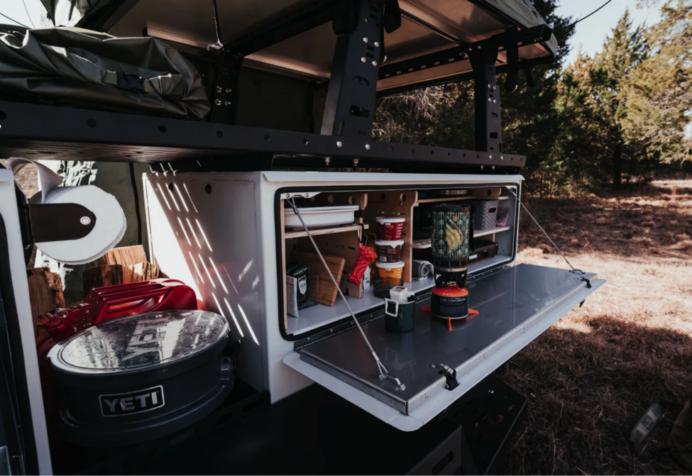 The open space between the Woolly Bear's two boxes can hold firewood, jerry cans and other hard-to-fit provisions