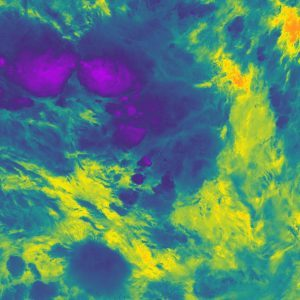 Infrared image of a thunderstorm taken from the NOAA-20 satellite, with the coldest sections seen in purple