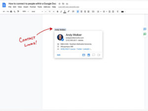 How to connect to people within a Google Doc