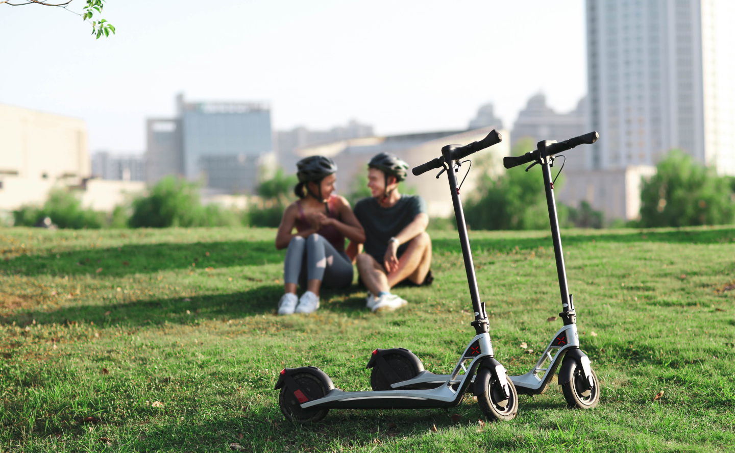 """The i1 e-scooter rides on 9-inch wheels with """"flat-free"""" tires"""