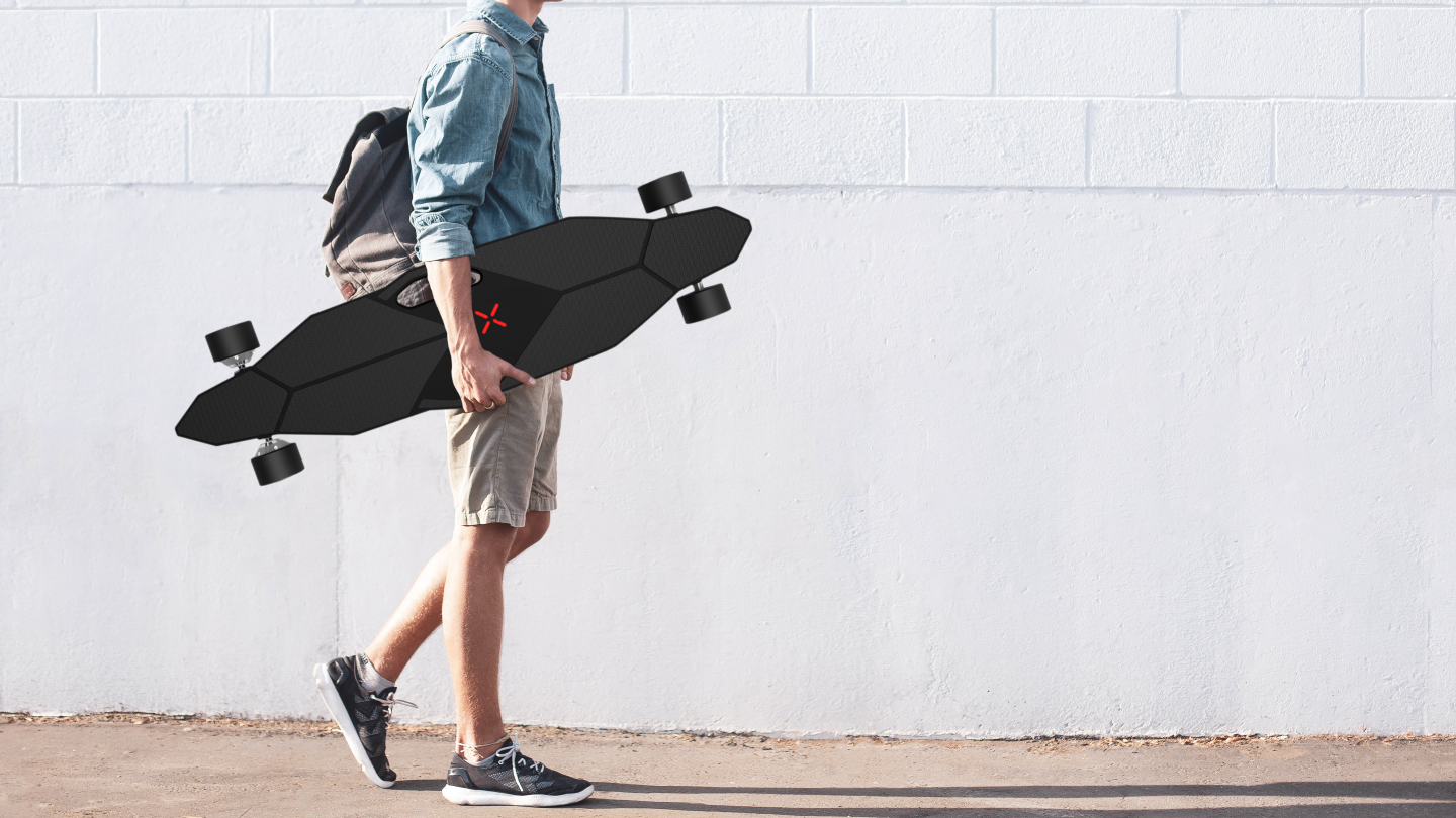 The M1 electric skateboard offers a top speed of 22.5 mph and per-charge range of 12.42 miles