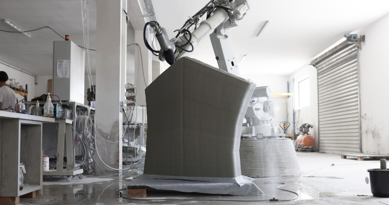 3D printing the concrete blocks