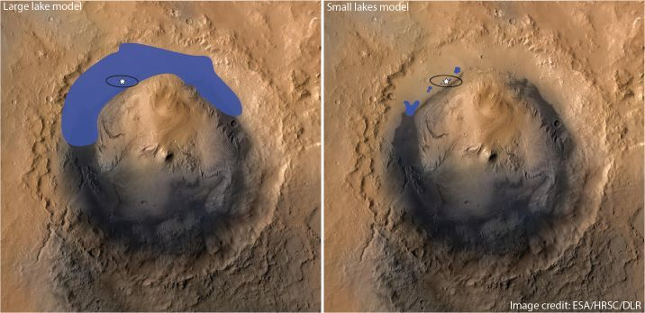 Images of Gale crater from the Mars Express orbiter, with blue indicating water in either the predominant large lake model (left) and the team's new small lakes model (right)