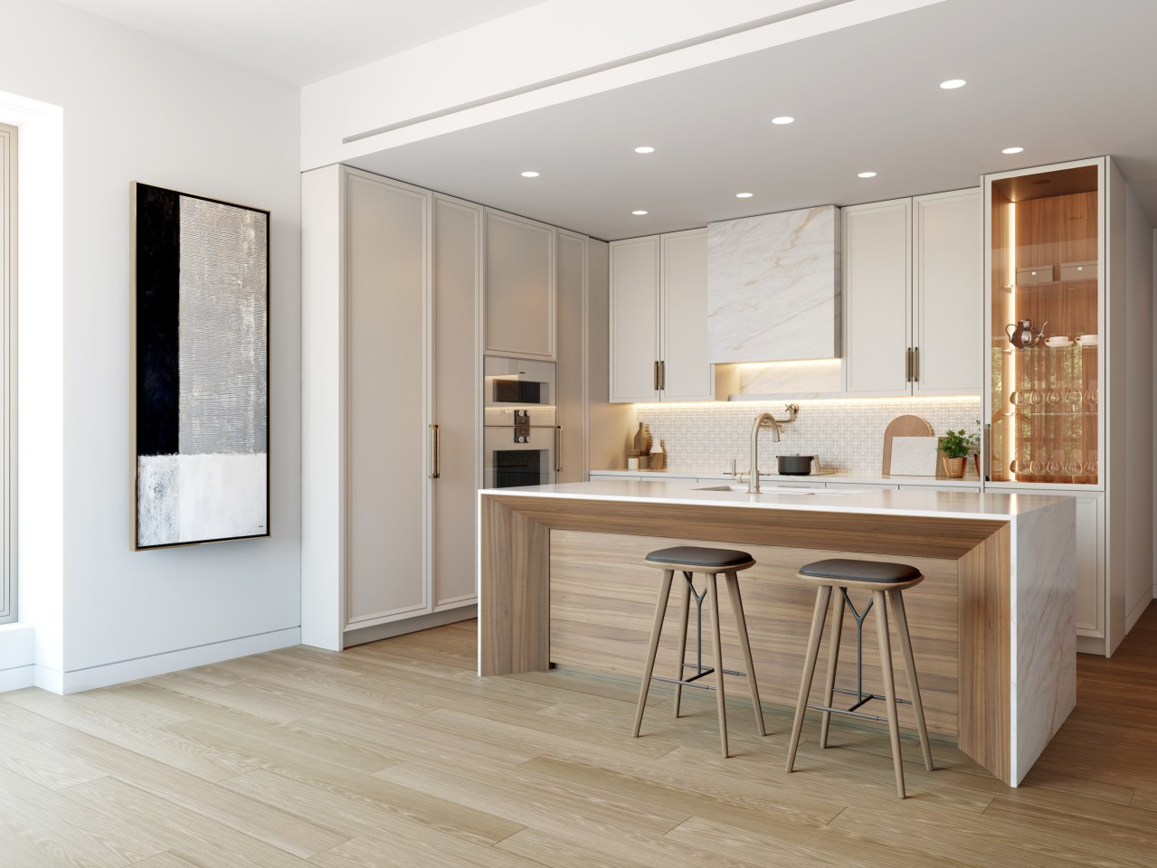 The Era's interiors will feature high-end materials like oak floors and marble countertops